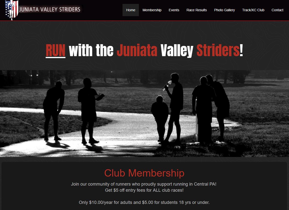 Juniata Valley Striders Non Profit Website Design in PA